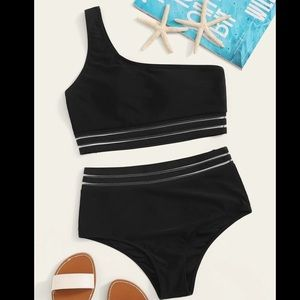 One Shoulder High Waisted Chic Black Bikini Set S